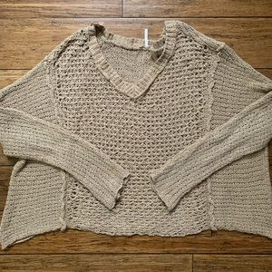 Beige Chunky Knit Slouchy V Neck Sweater